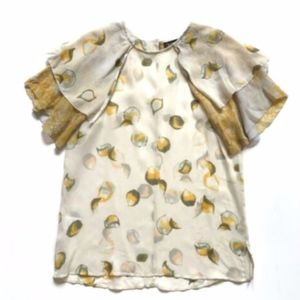 NEW Anthropologie Winter Kale Lemon Top Shirt M
